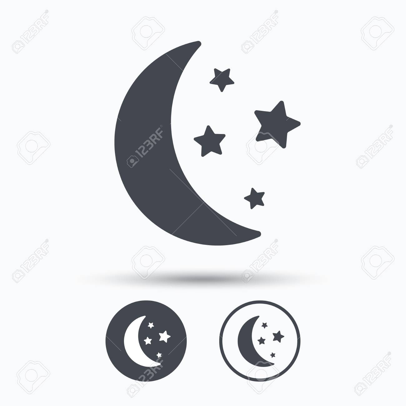 Moon And Stars Icon Night Sleep Symbol Circle Buttons With