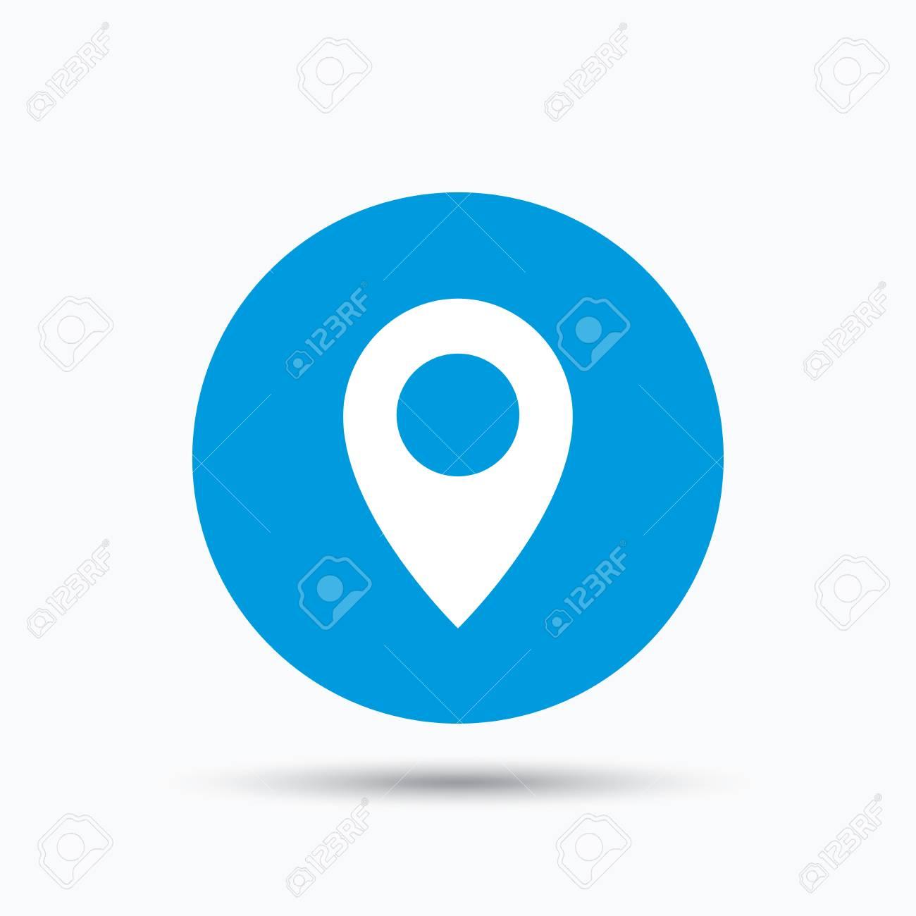 Icone Localisation localisation icône. carte symbole de pointeur. bouton cercle bleu