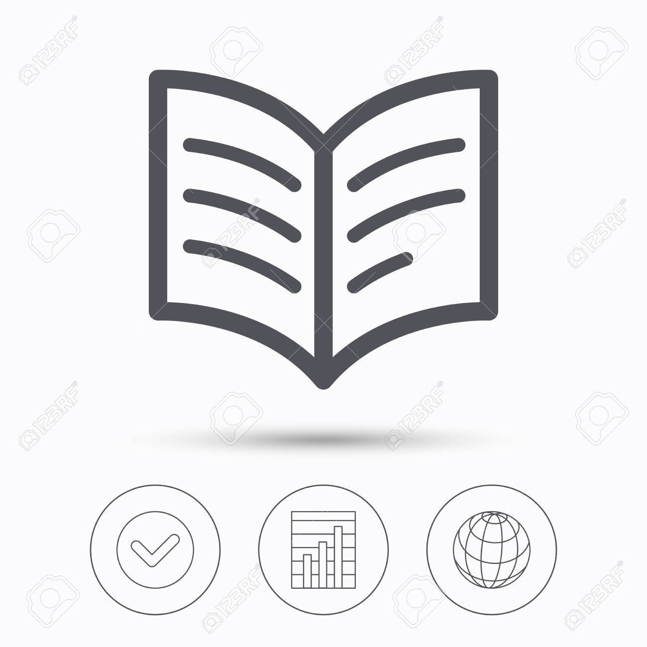 book icon study literature sign education textbook symbol  study literature sign education textbook symbol check tick graph chart