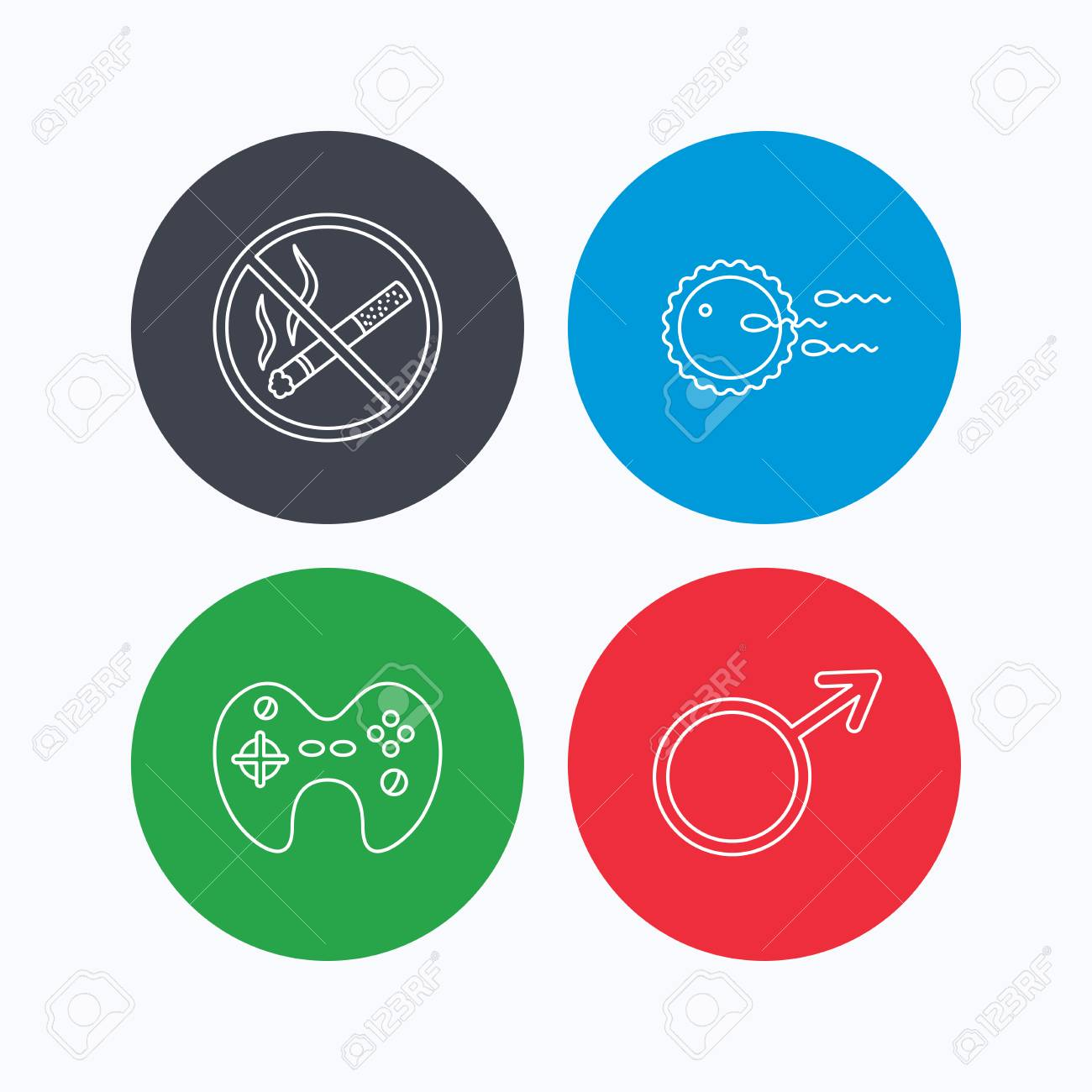 No Smoking Family Planning And Game Joystick Icons Male Linear