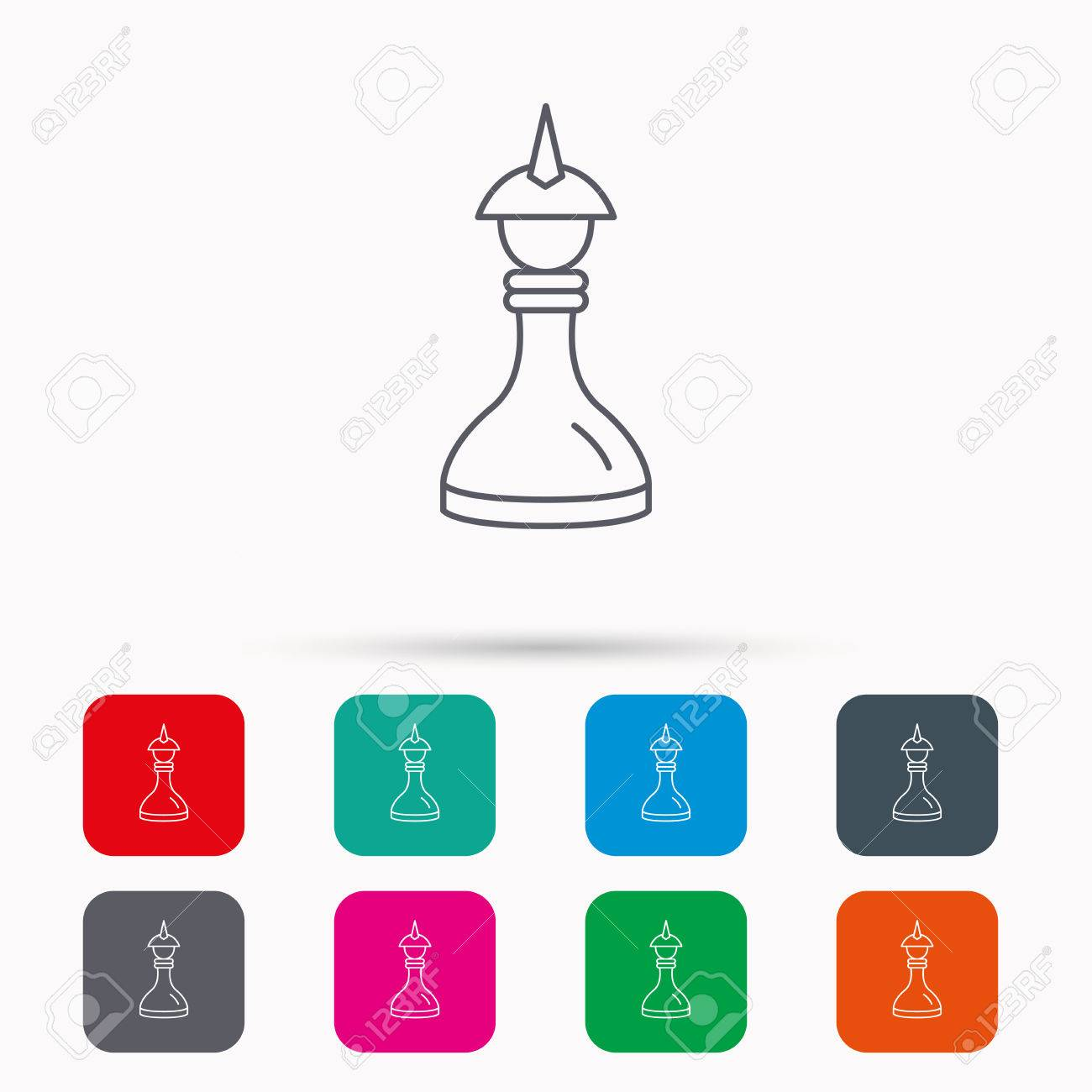 Strategy Icon Chess Queen Or King Sign Mind Game Symbol Linear