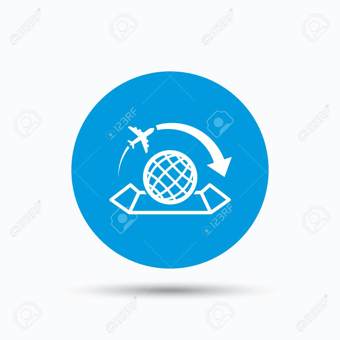 World map icon globe with arrow sign plane travel symbol blue vector world map icon globe with arrow sign plane travel symbol blue circle button with flat web icon vector gumiabroncs Gallery