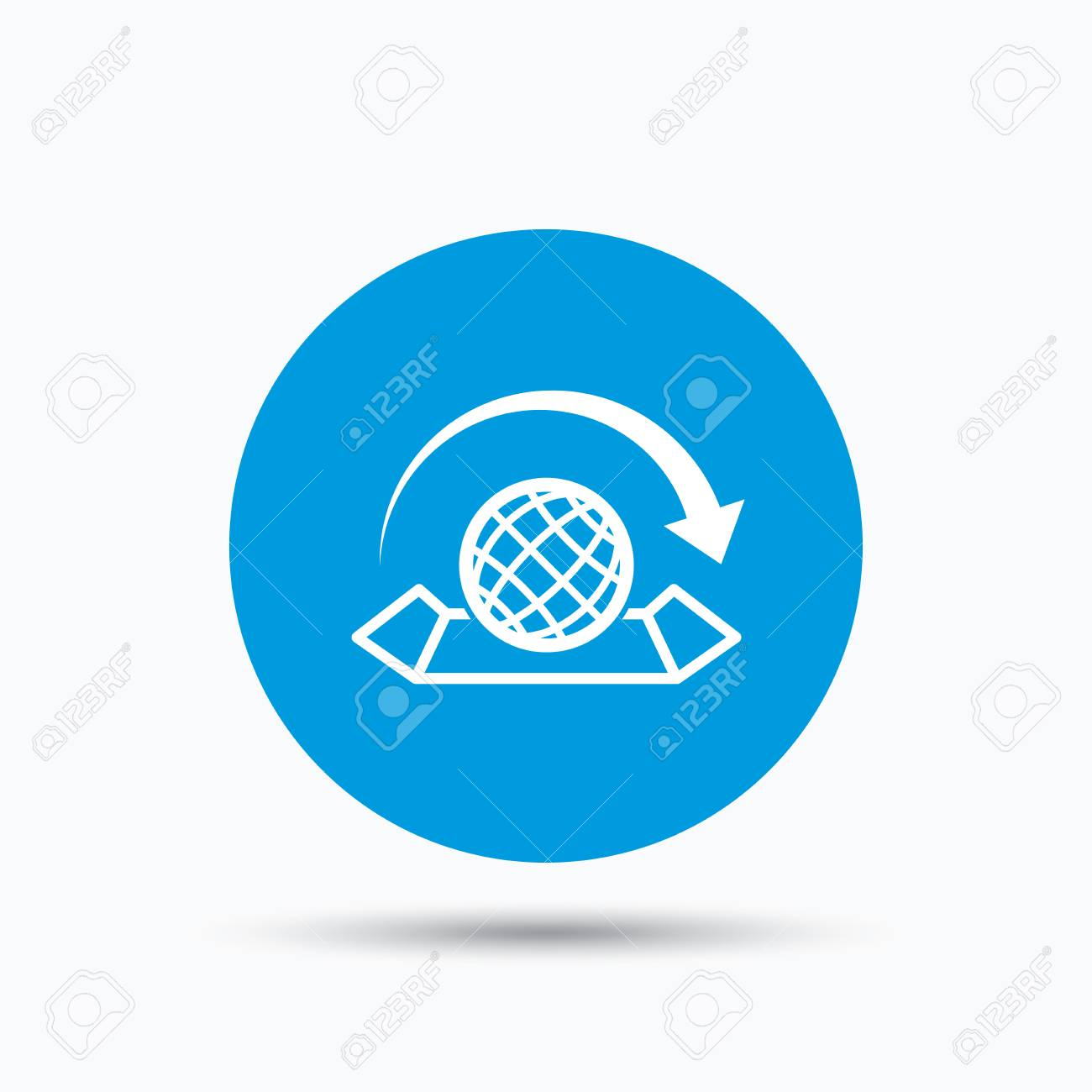 World map icon globe with arrow sign travel location symbol vector world map icon globe with arrow sign travel location symbol blue circle button with flat web icon vector gumiabroncs Image collections