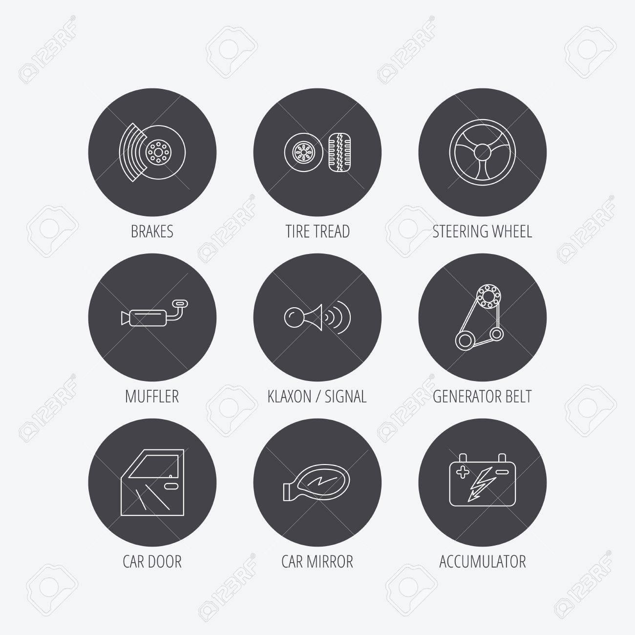Accumulator, Brakes And Steering Wheel Icons. Generator Belt ...