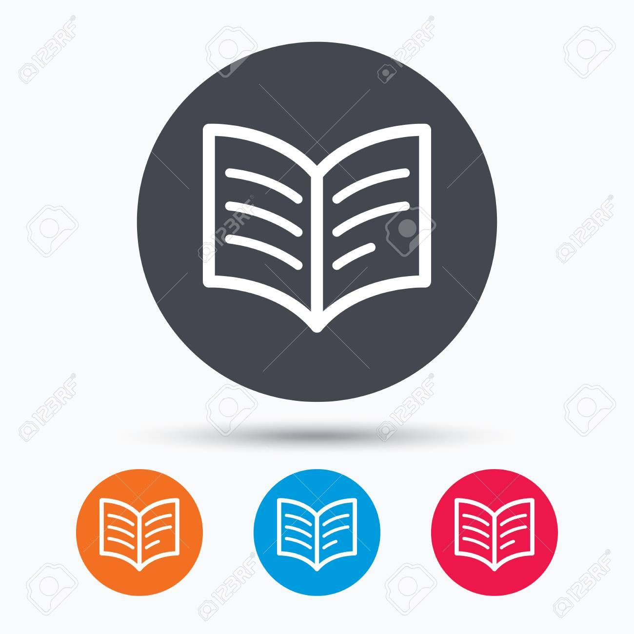 Icone Du Livre Etude Signe De La Litterature Education Symbole De Manuel De Couleur Boutons De Cercle Avec Plat Icone Web Vecteur