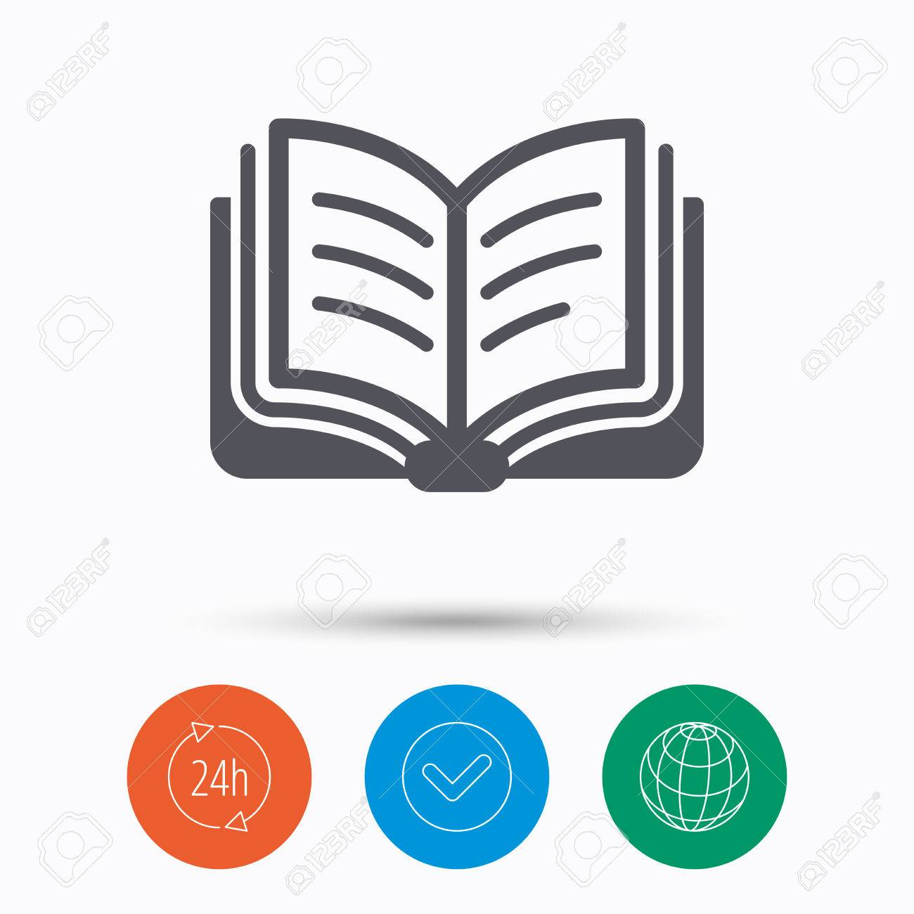 book icon study literature sign education textbook symbol  study literature sign education textbook symbol check tick 24 hours