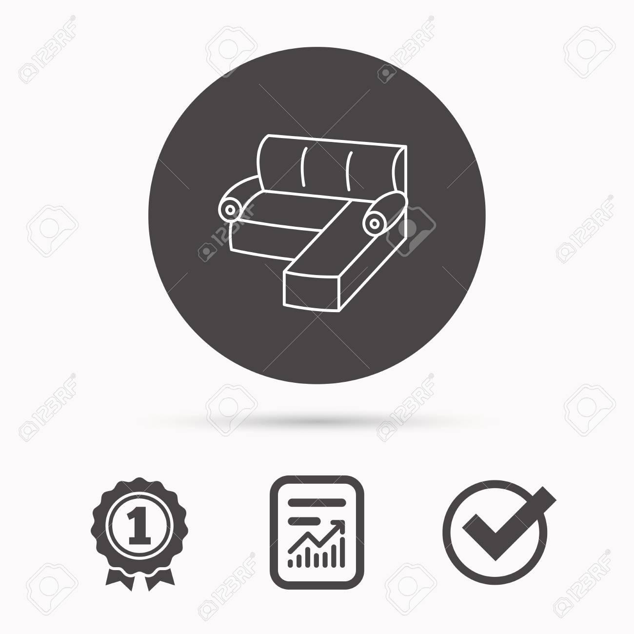 Corner Sofa Icon Comfortable Couch Sign Furniture Symbol Report