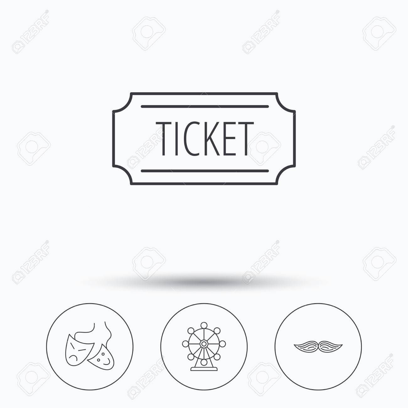 Ferris wheel ticket and theater masks icons mustache linear ferris wheel ticket and theater masks icons mustache linear sign linear icons in biocorpaavc