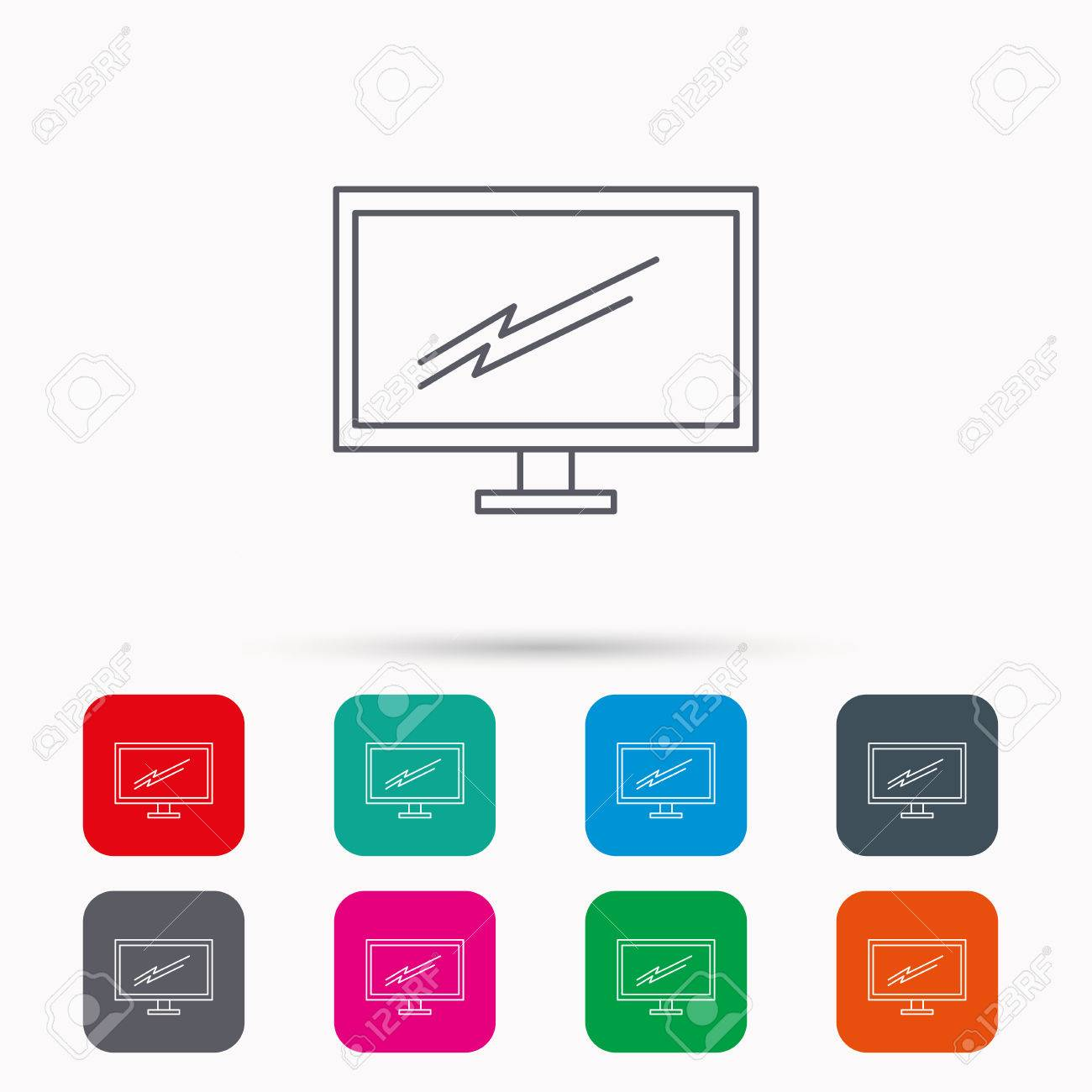 PC Monitor Icon. Led TV Sign. Widescreen Display Symbol. Linear ...