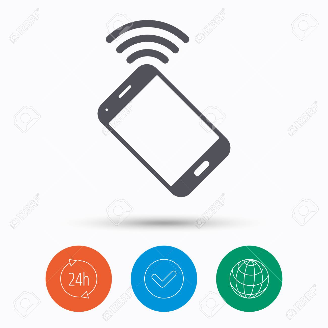 Cellphone icon  Mobile phone communication symbol  Check tick,