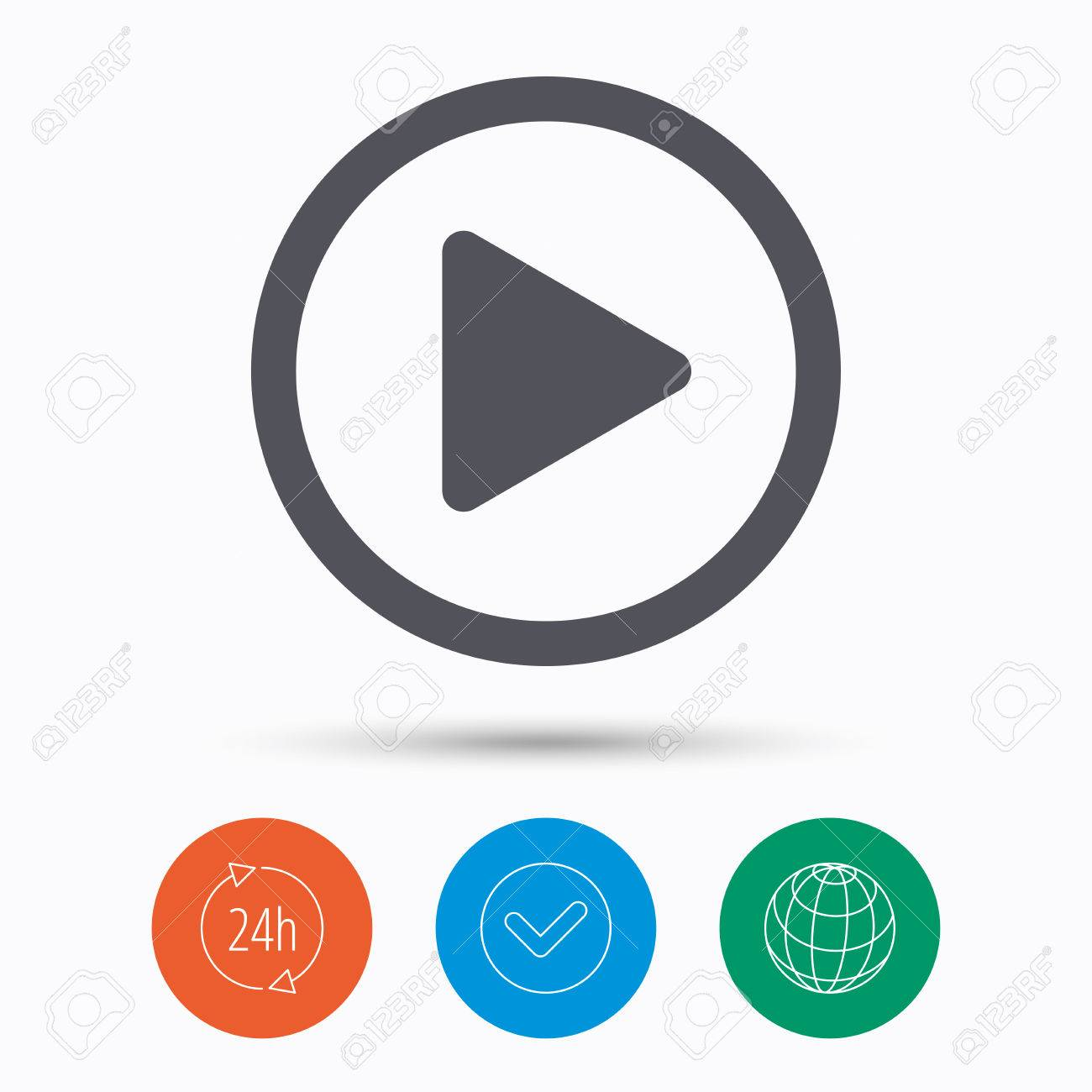 Play Icon Audio Or Video Player Symbol Check Tick 24 Hours