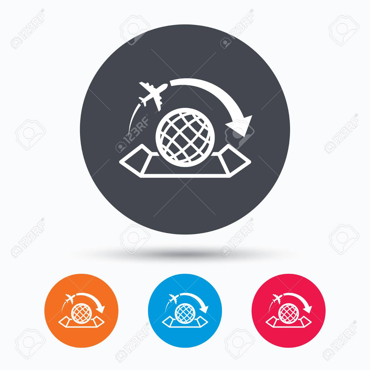 World map icon globe with arrow sign plane travel symbol colored vector world map icon globe with arrow sign plane travel symbol colored circle buttons with flat web icon vector gumiabroncs Gallery