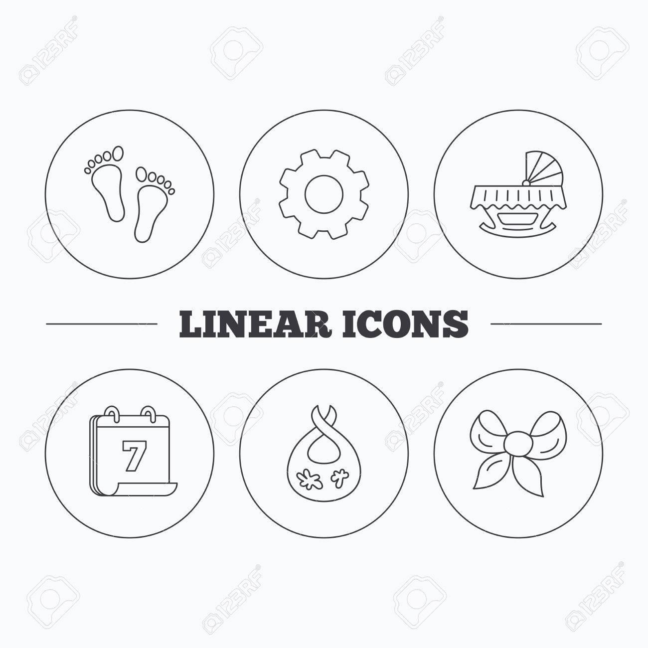 Footprint Cradle And Dirty Bib Icons Bow Linear Sign Flat