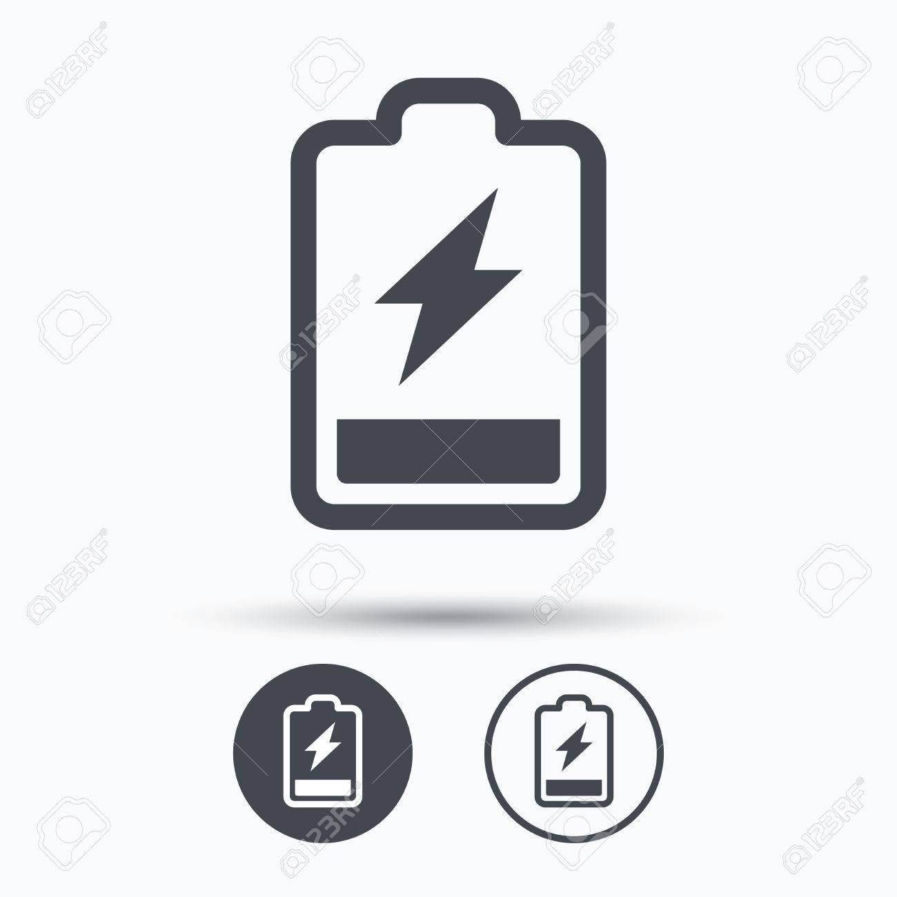 Battery Power Icon. Charging Accumulator Symbol. Circle Buttons ...