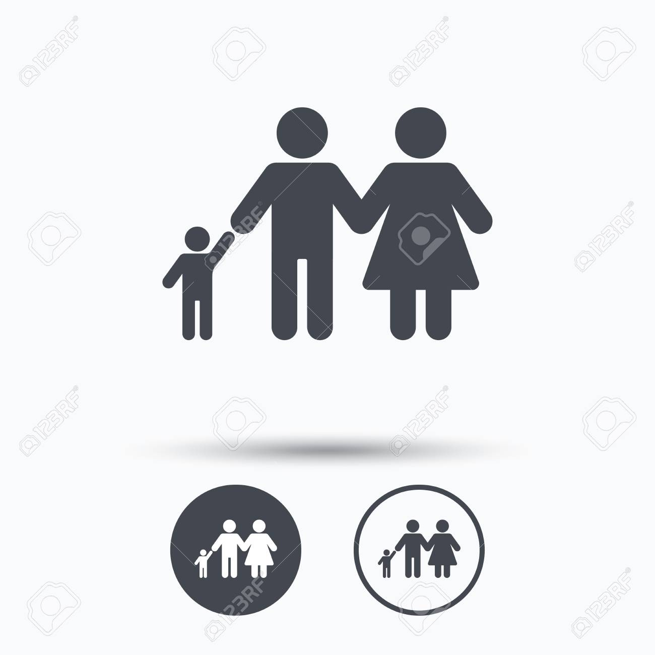 Family Icon Father Mother And Child Symbol Circle Buttons