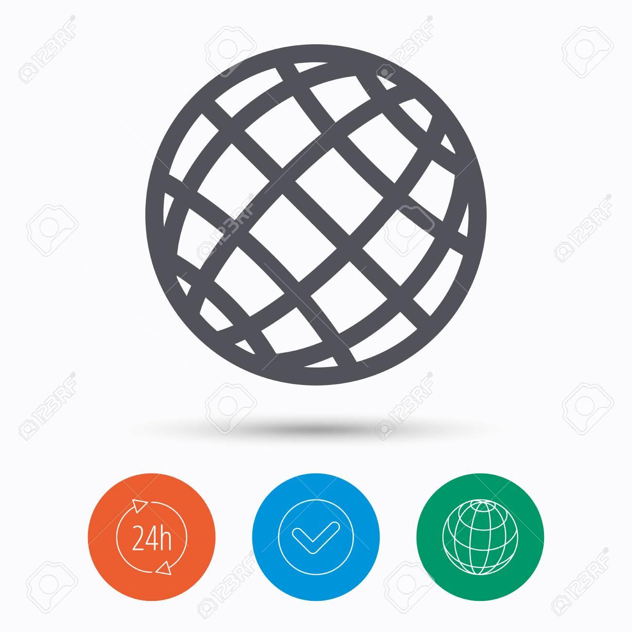Globe icon world or internet symbol check tick 24 hours service globe icon world or internet symbol check tick 24 hours service and internet biocorpaavc