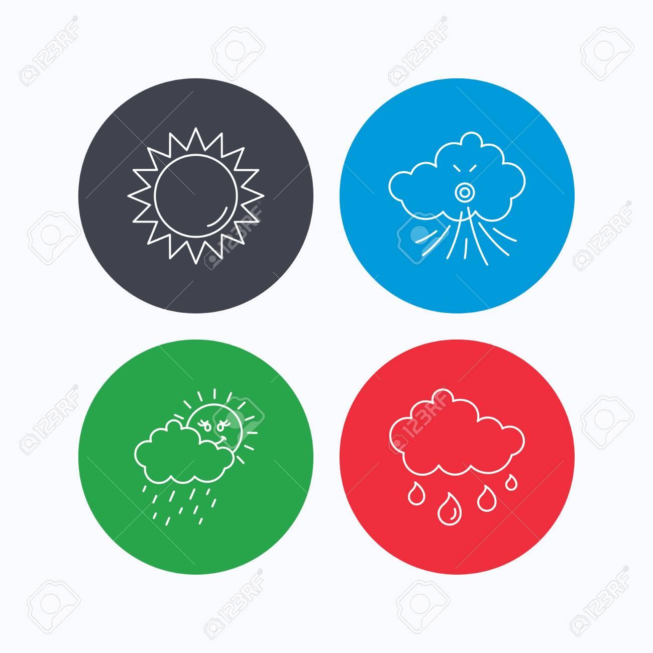 Iconos De Clima, Sol Y Viento. Signo Lineal Día Lluvioso. Iconos ...