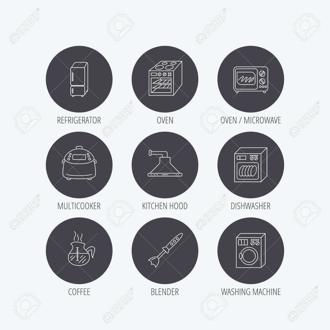 Super Mikrowelle, Waschmaschine Und Mixer-Symbole. Kühlschrank GQ93