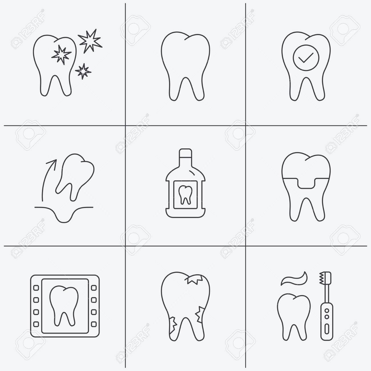 Tooth, dental crown and mouthwash icons  Caries, tooth extraction