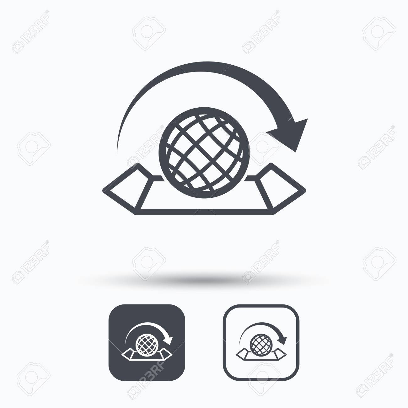 World map icon globe with arrow sign travel location symbol world map icon globe with arrow sign travel location symbol square buttons with gumiabroncs Gallery