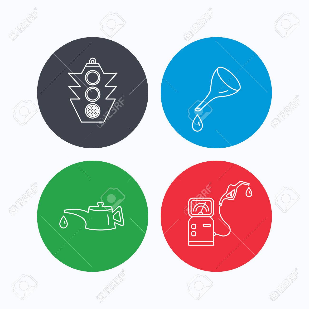 Motor oil change traffic lights and gas station icons petrol motor oil change traffic lights and gas station icons petrol station linear sign biocorpaavc
