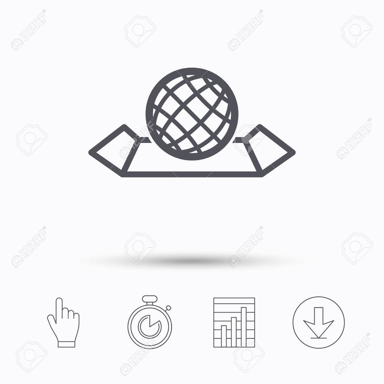 World map icon globe sign travel location symbol stopwatch vector world map icon globe sign travel location symbol stopwatch timer hand click report chart and download arrow linear icons vector gumiabroncs Gallery