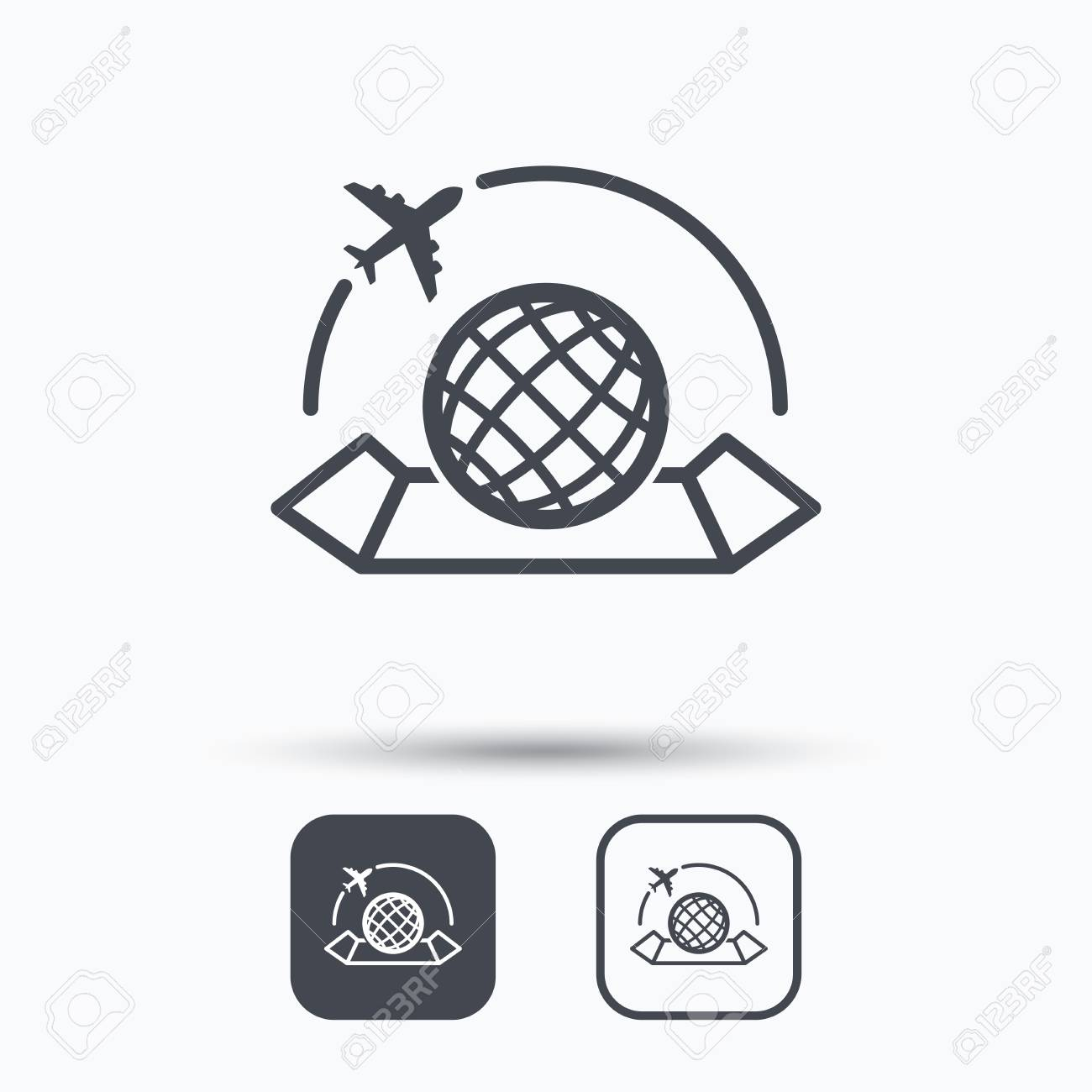 World map icon globe with airplane sign plane travel symbol vector world map icon globe with airplane sign plane travel symbol square buttons with flat web icon on white background vector gumiabroncs Choice Image