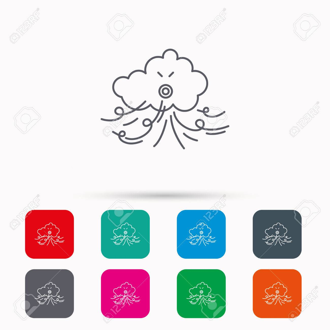 Wind icon cloud with storm sign strong wind or tempest symbol strong wind or tempest symbol linear icons biocorpaavc