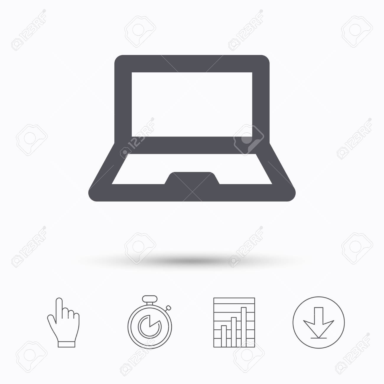computer icon notebook or laptop pc symbol stopwatch timer