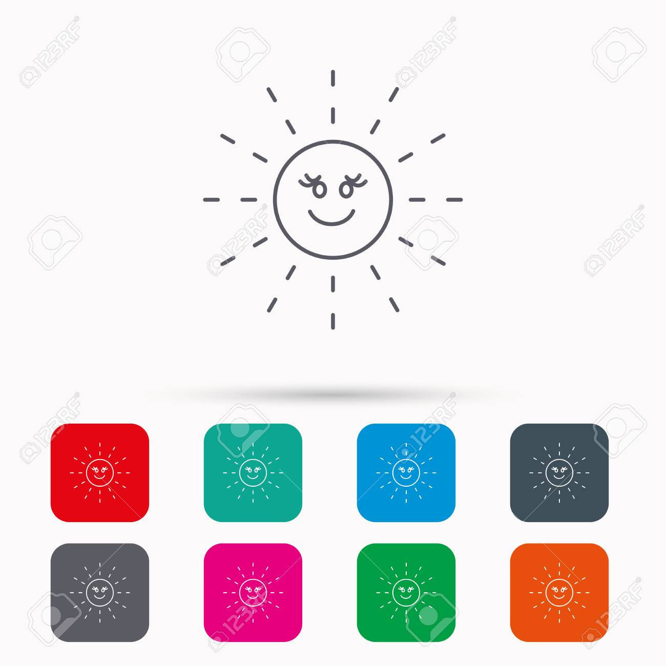 Sun Rays Icon Summer Sign Hot Weather Symbol Linear Icons