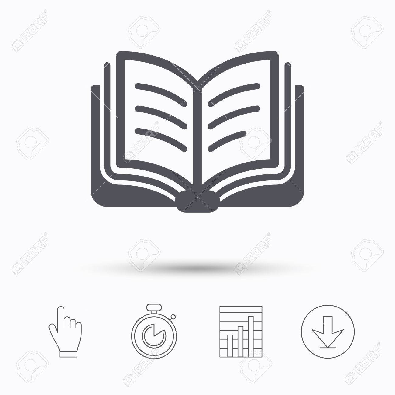 book icon study literature sign education textbook symbol study literature sign education textbook symbol stopwatch timer hand click