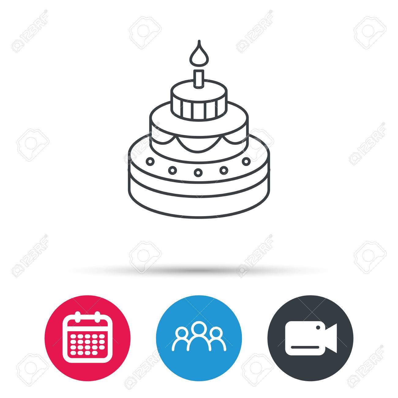 Cake icon birthday delicious dessert sign sweet food with candle cake icon birthday delicious dessert sign sweet food with candle symbol group of buycottarizona