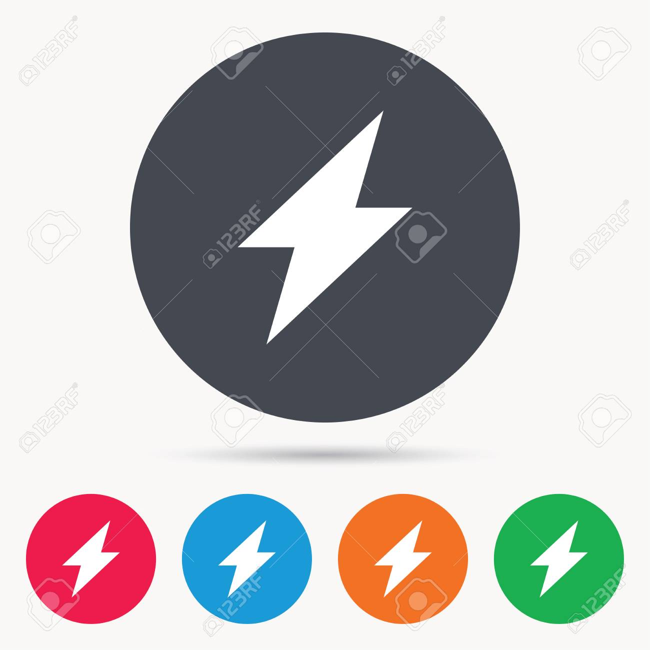 Lightning Icon Electricity Energy Power Symbol Colored Circle