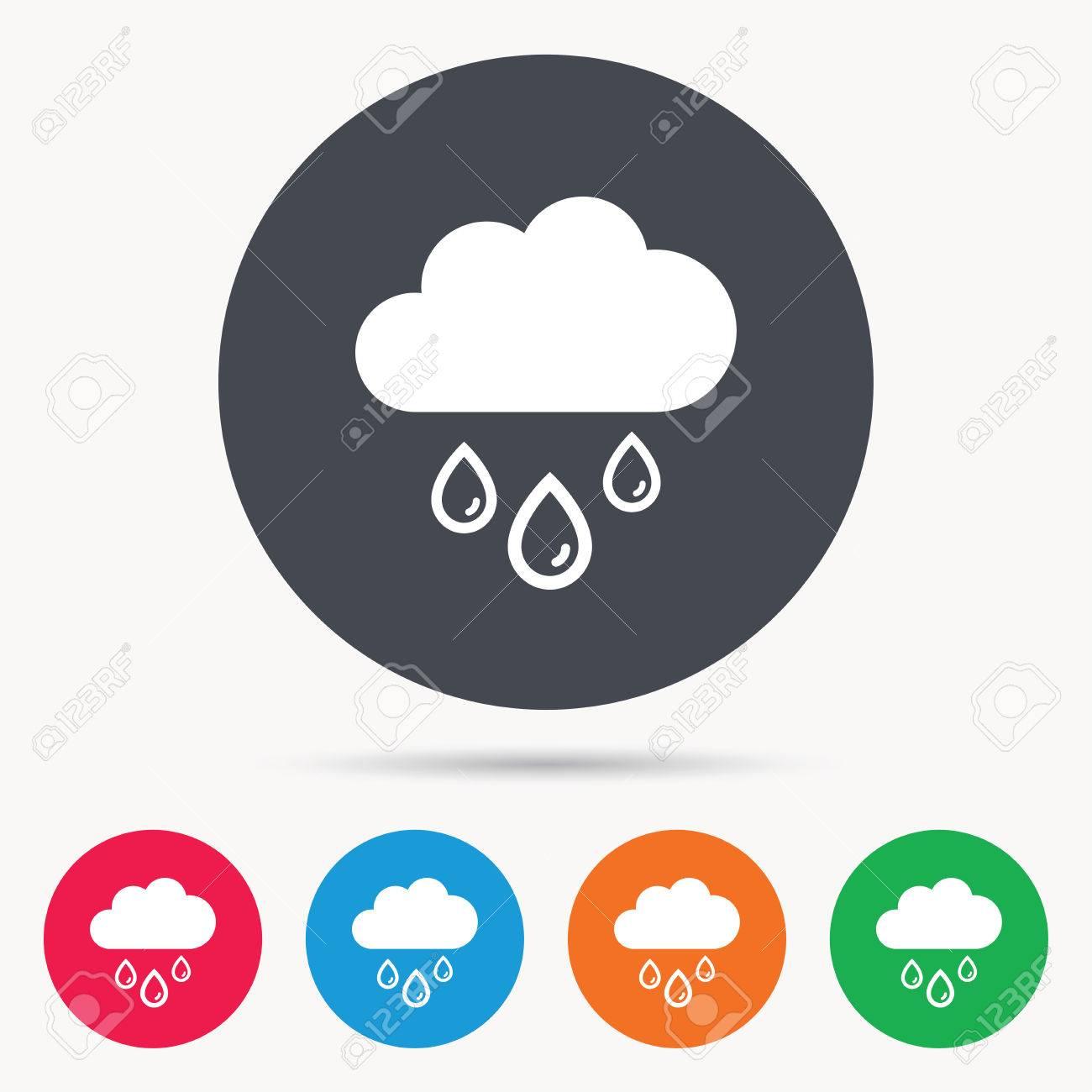 Nube Con Gotas De Lluvia Icono. Símbolo Del Día Lluvioso. Botones De ...