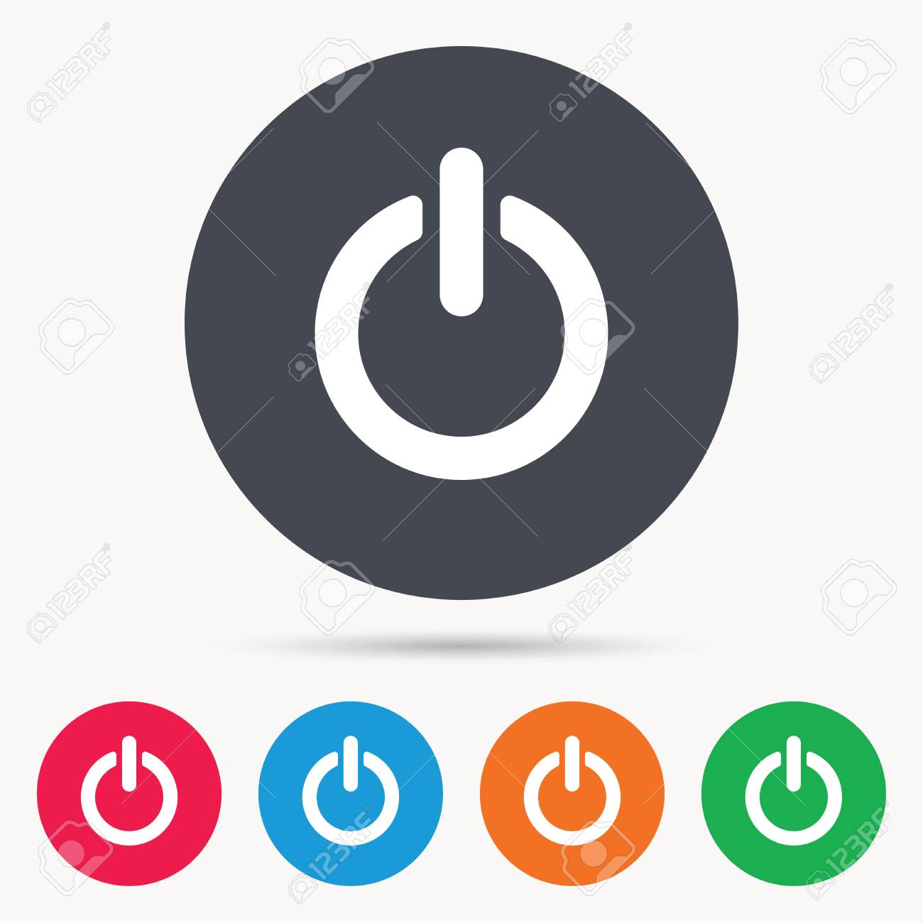 On, Off Power Icon. Energy Switch Symbol. Colored Circle Buttons ...