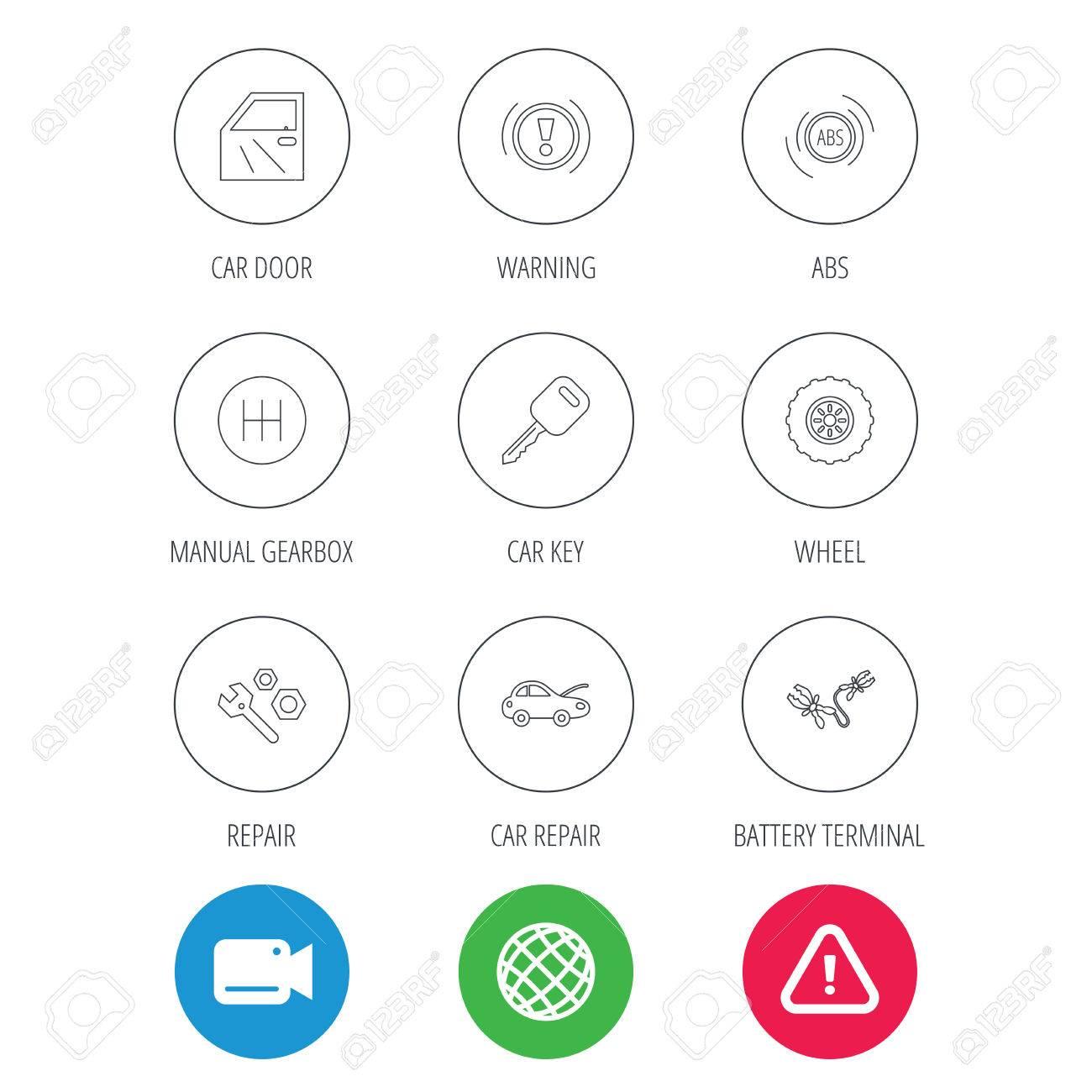 Car key, repair tools and manual gearbox icons  Wheel, warning