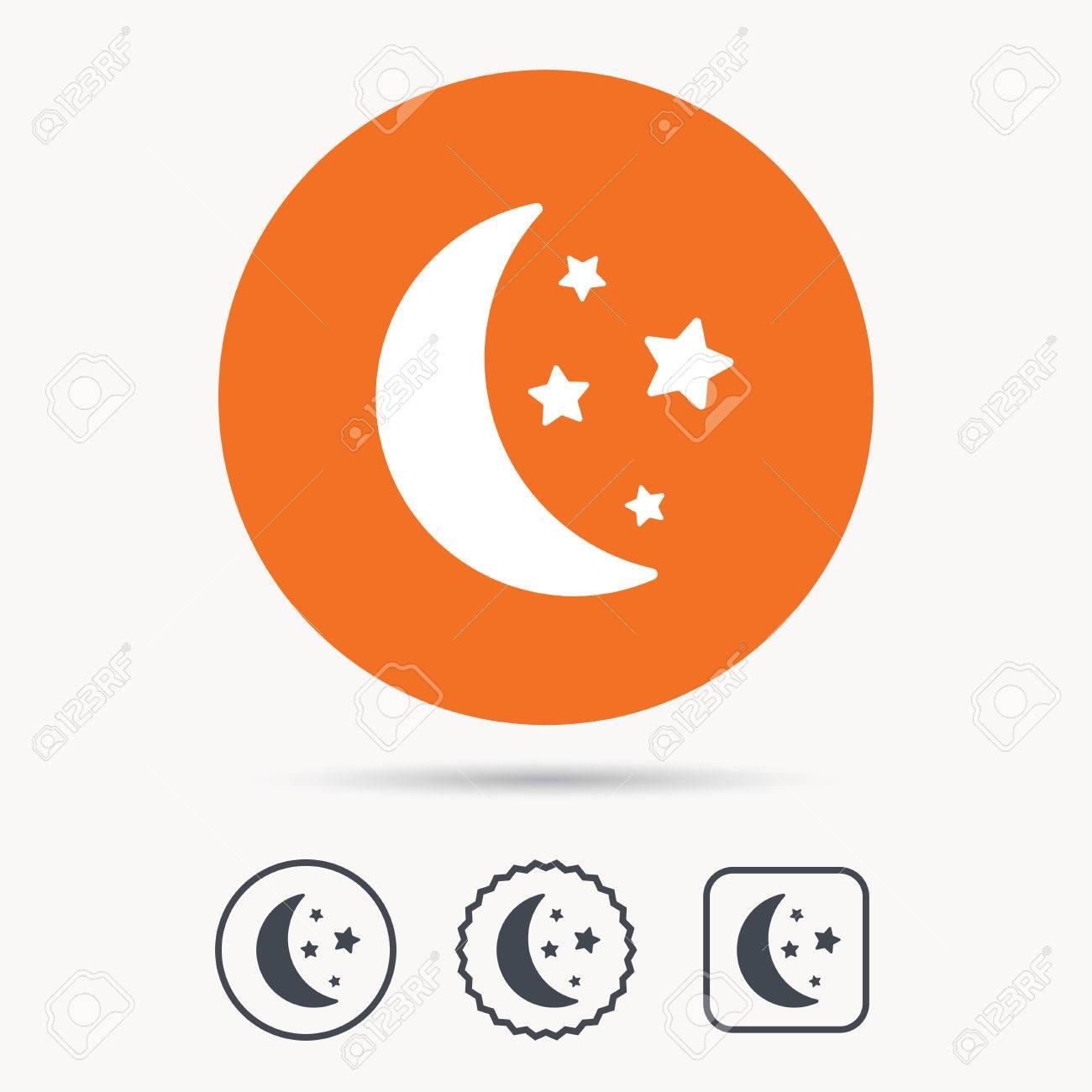 Moon And Stars Icon Night Sleep Symbol Orange Circle Button