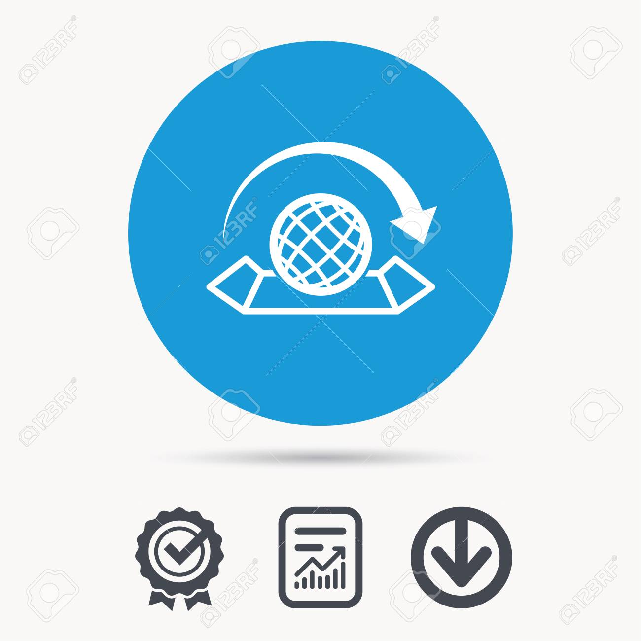 World map icon globe with arrow sign travel location symbol vector world map icon globe with arrow sign travel location symbol achievement check download and report file signs circle button with web icon gumiabroncs