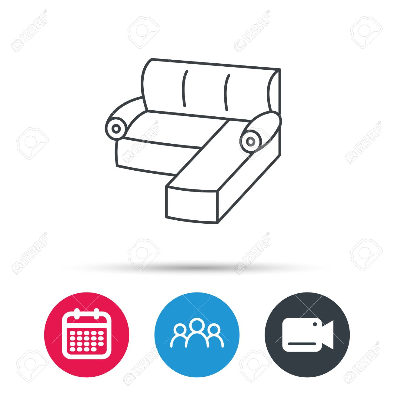 Corner Sofa Icon Comfortable Couch Sign Furniture Symbol Group
