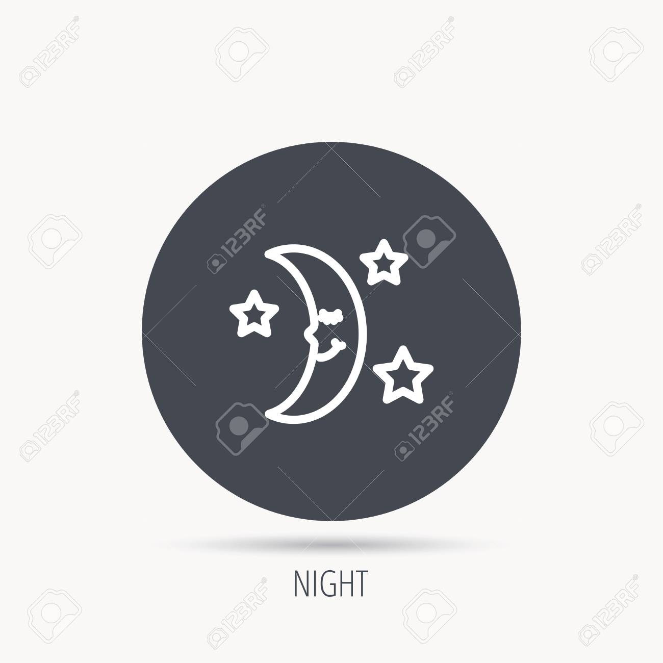 Night Or Sleep Icon Moon And Stars Sign Crescent Astronomy