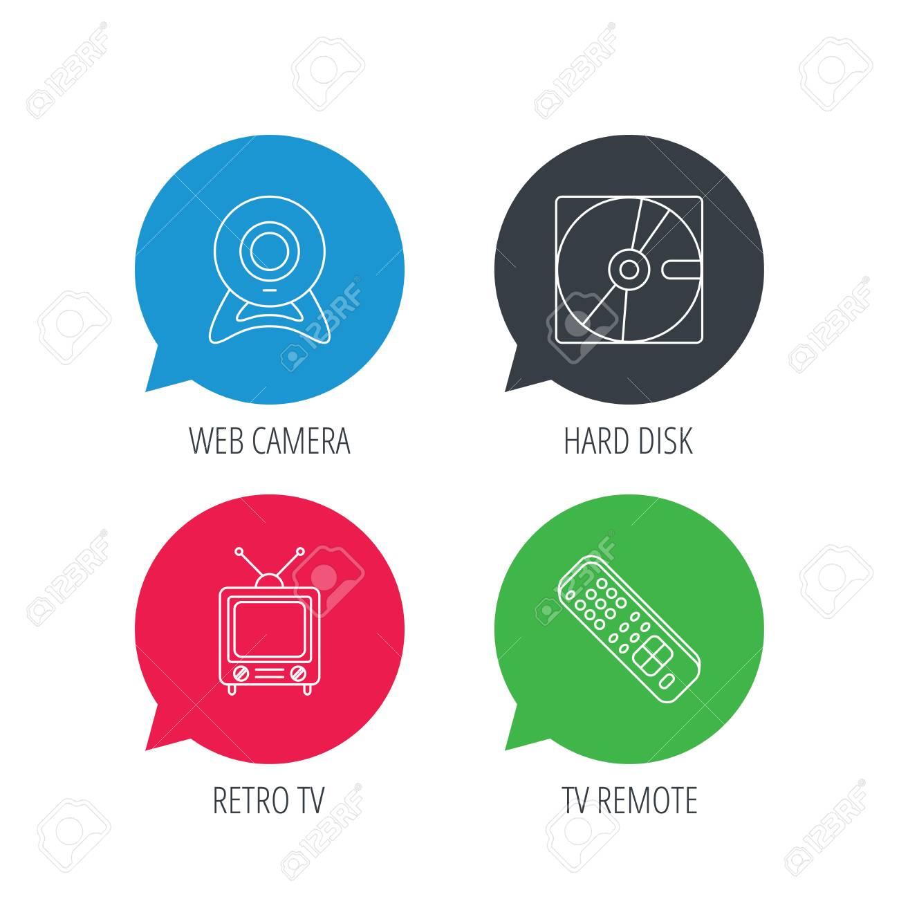 Burbujas De Discurso Coloreado Cámara Web Tv Retro E Iconos Del Disco Duro Signo Lineal Remoto De Tv Botones Web Planos Con Iconos Lineales Vector