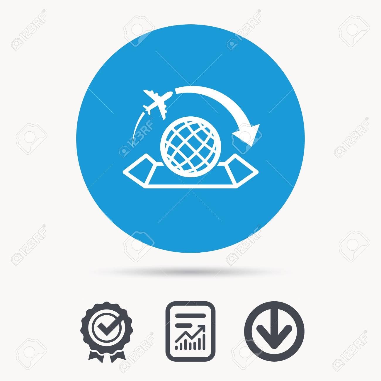 World map icon globe with arrow sign plane travel symbol vector world map icon globe with arrow sign plane travel symbol achievement check gumiabroncs Image collections