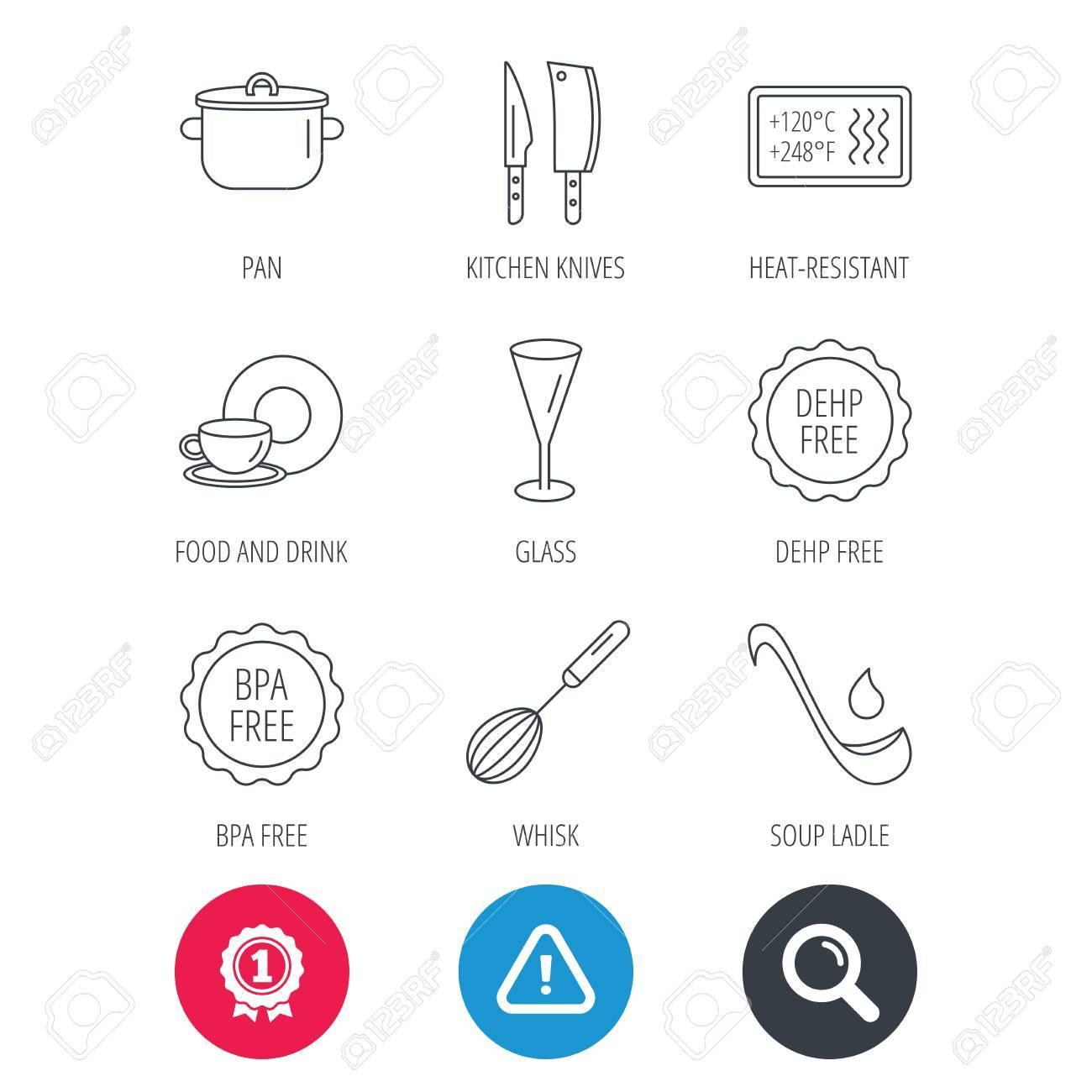 Logro Y Signos De Lupa De Búsqueda. Cuchillos De Cocina, Iconos De ...