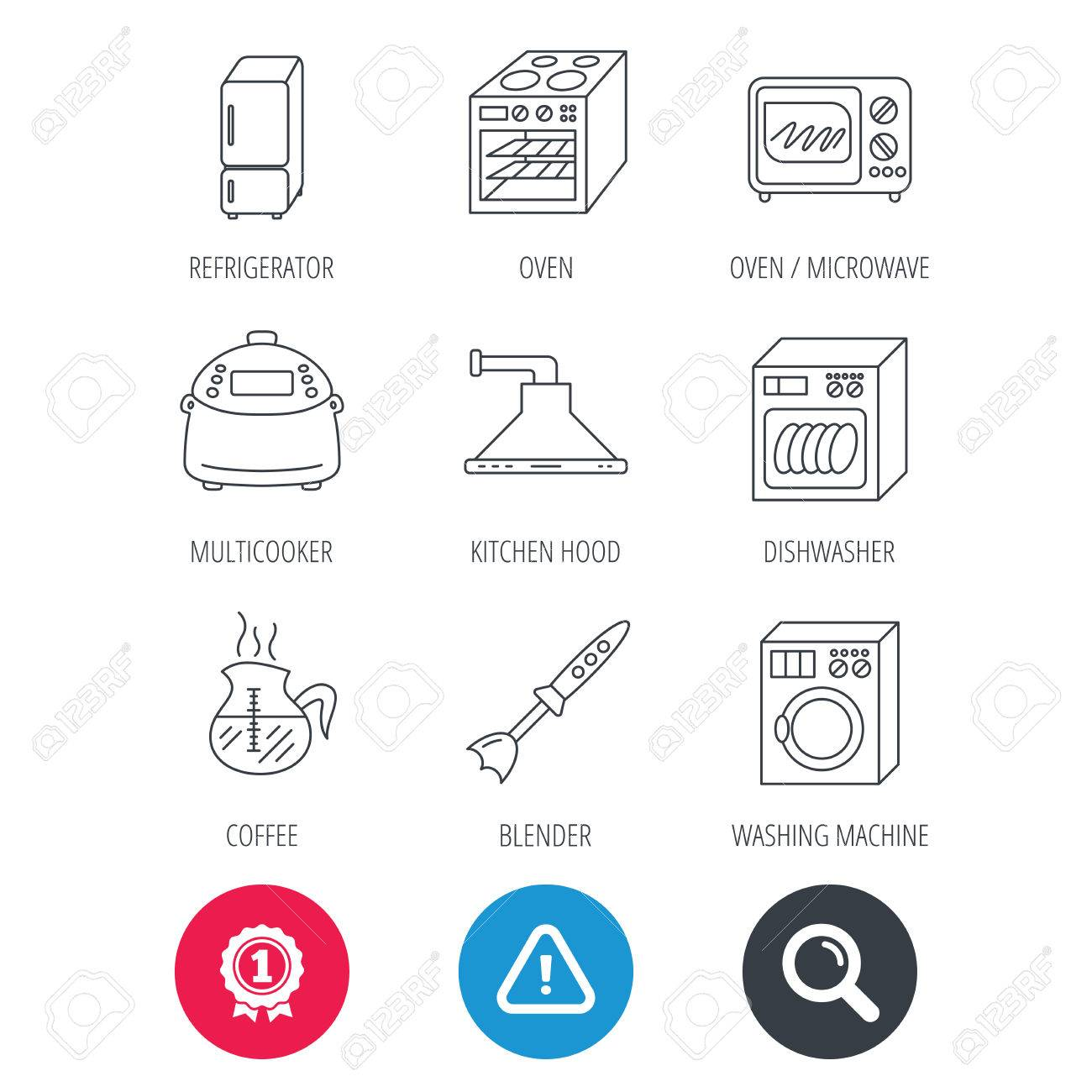 Zeichen Leistung Und Such Lupe Mikrowelle Waschmaschine Und Mixer