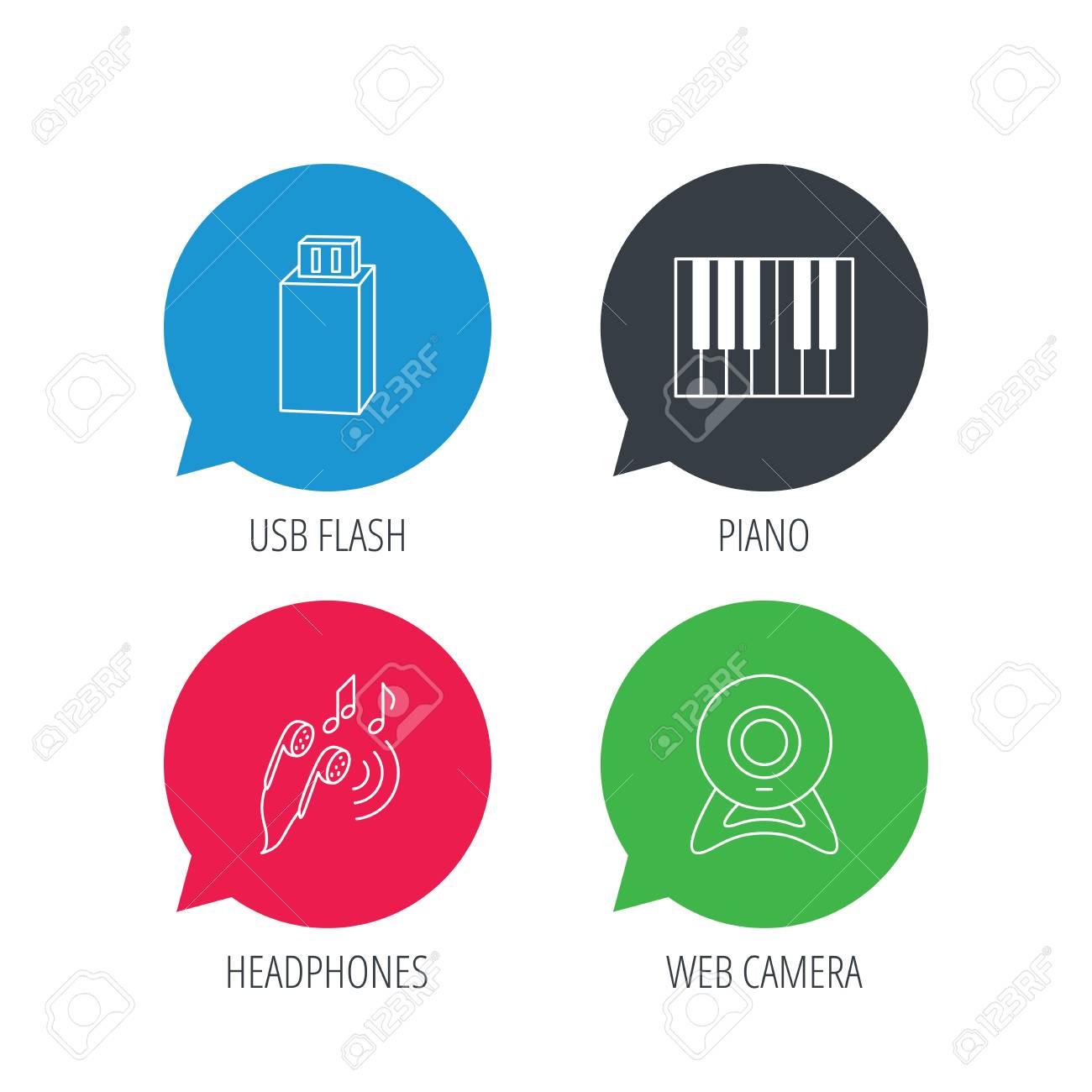 Burbujas De Discurso Coloreado Auriculares Cámara Web E Iconos Flash Usb Piano Signo Lineal Botones Web Planos Con Iconos Lineales Vector
