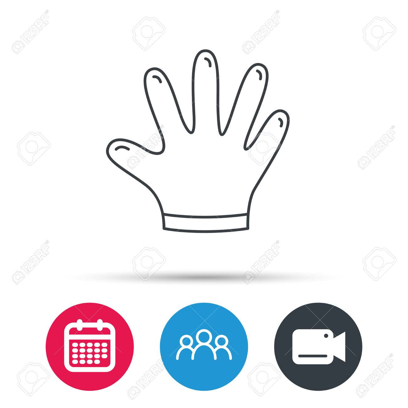 Rubber Gloves Icon Latex Hand Protection Sign Housework Cleaning