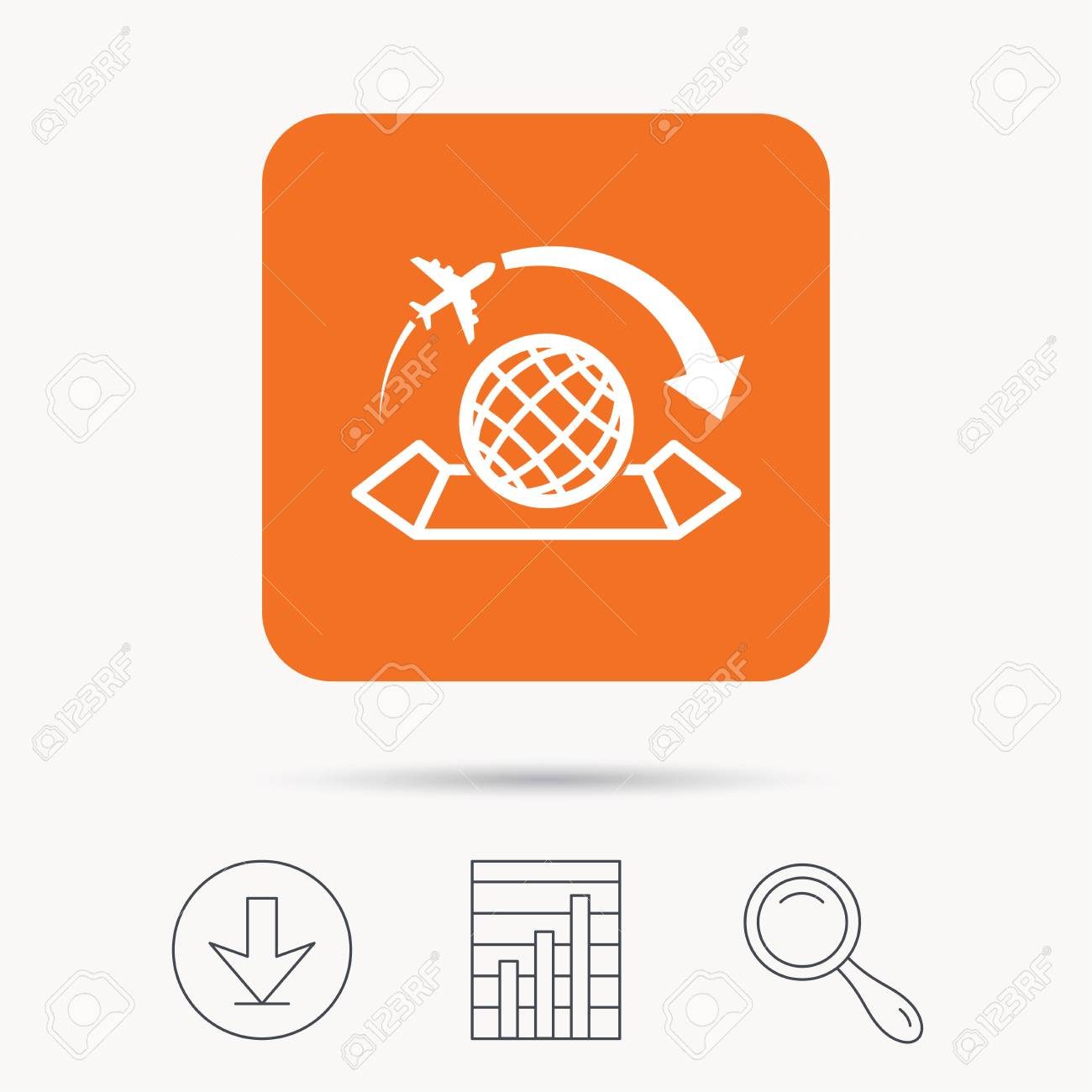 World map icon globe with arrow sign plane travel symbol report vector world map icon globe with arrow sign plane travel symbol report chart download and magnifier search signs orange square button with web icon gumiabroncs Gallery
