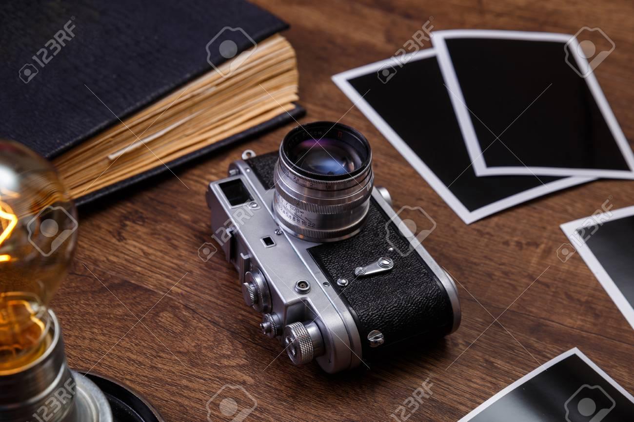 Vintage Photo Camera. Blank Photo Frames. Old Aged Album. Retro ...