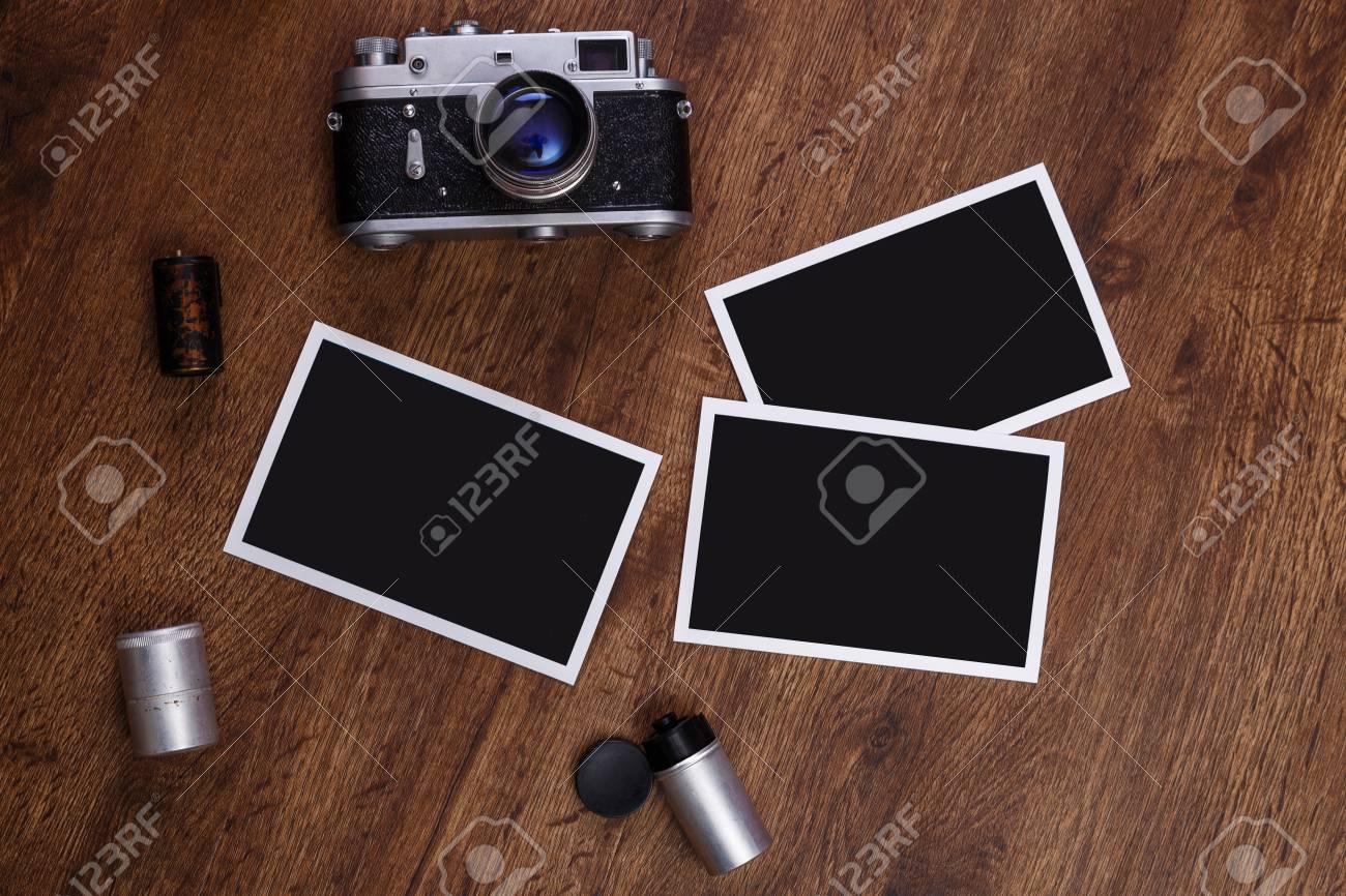 Vintage Photo Camera. Blank Photo Frames. Old Aged Camera Rolls ...