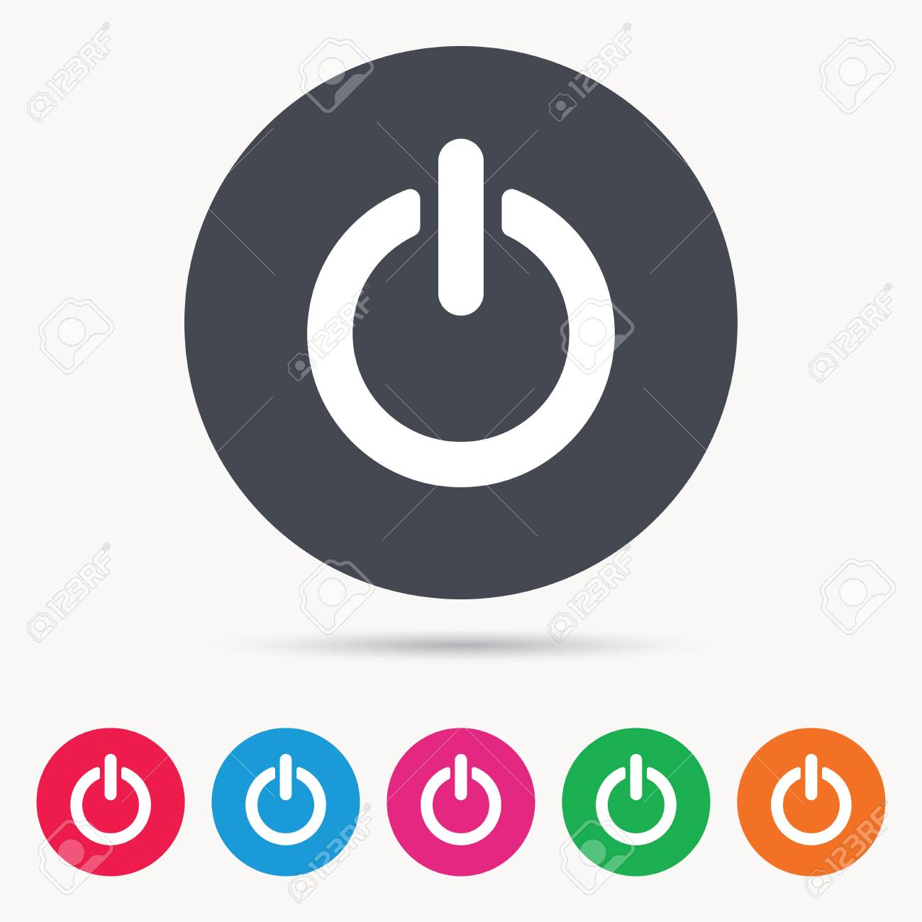 On Off Power Icon Energy Switch Symbol Colored Circle Buttons